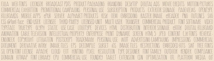 Common font licensing terms found in EULA. Contact Font Shield.